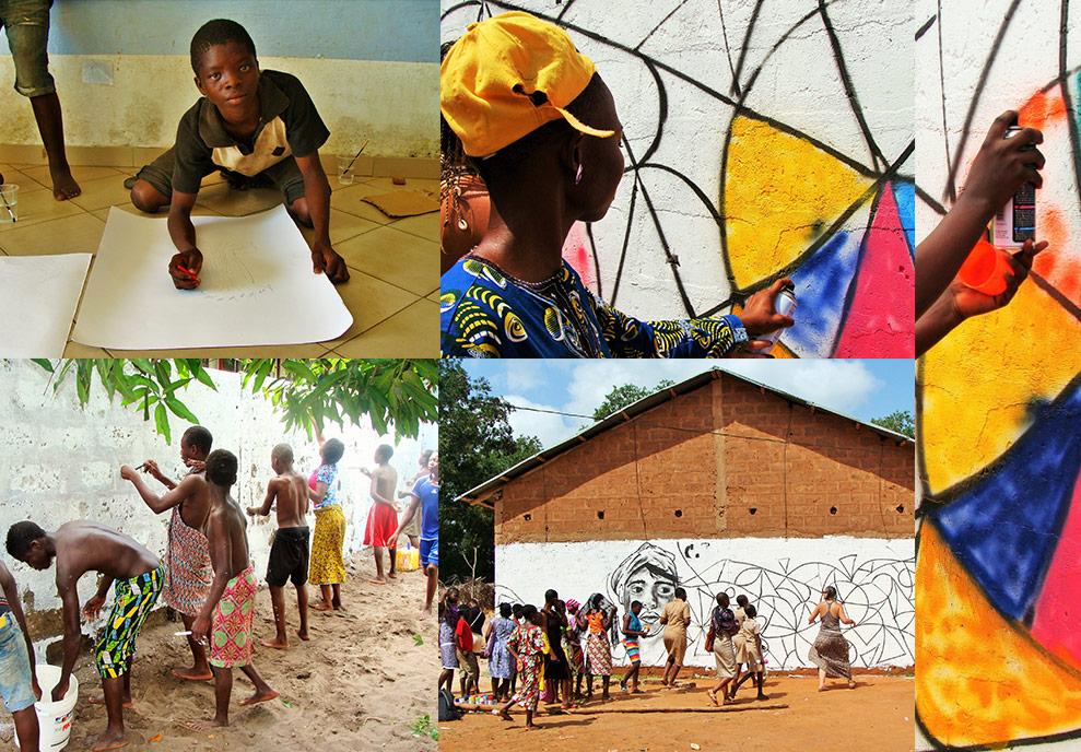 enfants peinture afrique bombe