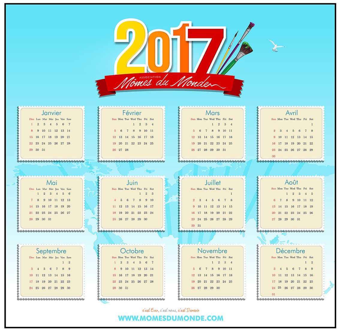 calendrier bleu couleurs 2017
